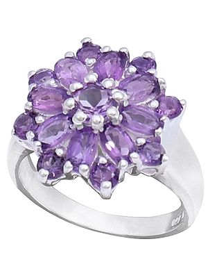 Sterling Silver Ring with Floral Amethyst Stone