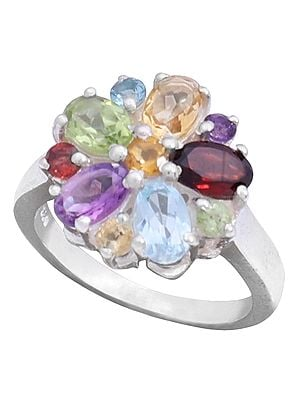Sterling Silver Ring with Garnet Citrine Blue Topaz Peridot and Amethyst
