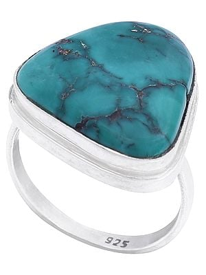 Smooth Greenish Turquoise Ring with Sterling Silver