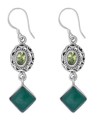 Sterling Silver Earrings Studded with Green Onyx and Peridot