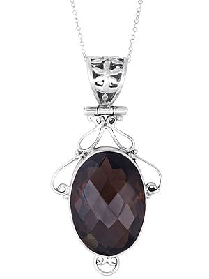 Sterling Silver Pendant with Oval Smoky Quartz