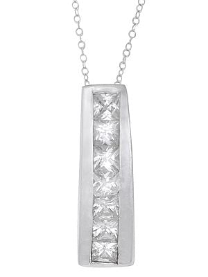 Sterling Silver Pendant with Cubic Zirconia Stone