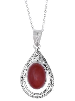 Sterling Silver Pendant with Oval Carnelian Stone