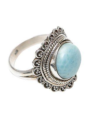 Amazonite Studded Designer Sterling Silver Ring