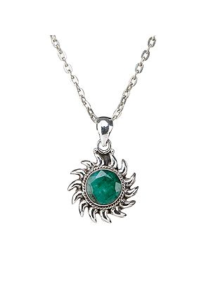 Sterling Silver Pendant with Faceted Gemstone