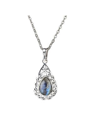 Sterling Silver Pendant with Drop Shaped Gemstone