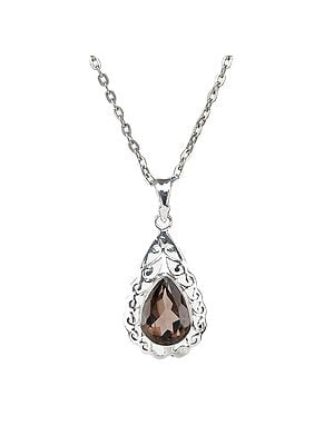 Sterling Silver Pendant with Faceted Drop Shaped Gemstone