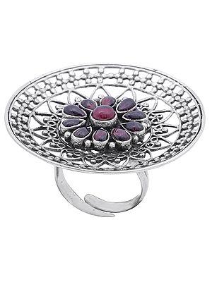 Big Designer Sterling Silver Ring with Ruby Gemstones