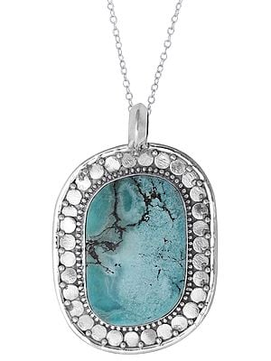 Large Turquoise Stone Studded in Designer Sterling Silver Pendant