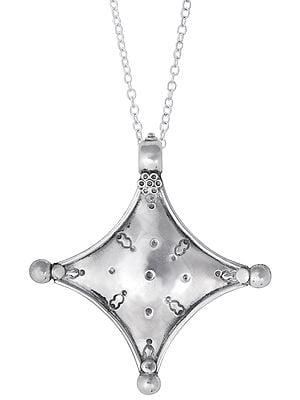 Rhombus Shaped Sterling Silver Pendant