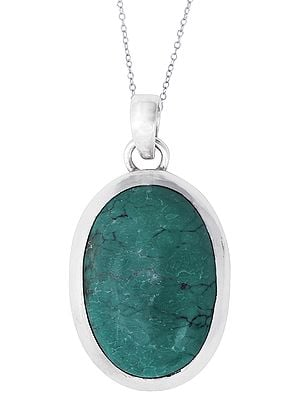 Sterling Silver Pendant with Greenish Turquoise Stone