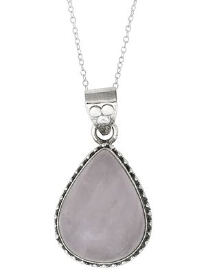 Sterling Silver Pendant with Rose Quartz Stone