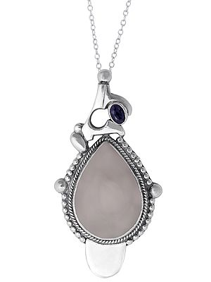 Sterling Silver Pendant with Pale Chalcedony and Iolite