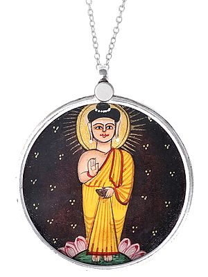 Blessing Lord Buddha Image in Sterling Silver Pendant