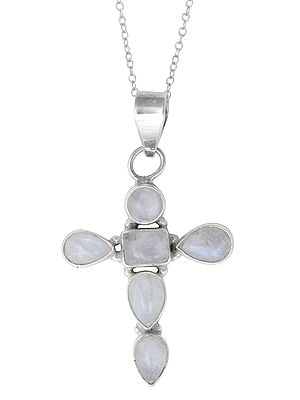 Sterling Silver Cross Pendant with Rainbow Moonstone