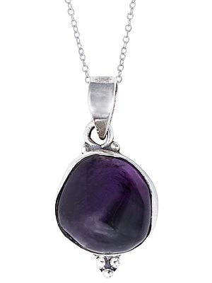 Small Amethyst Stone Studded in Sterling Silver Pendant