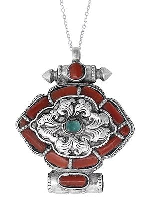 Sterling Silver Gau Box Pendant with Coral and Turquoise Stone