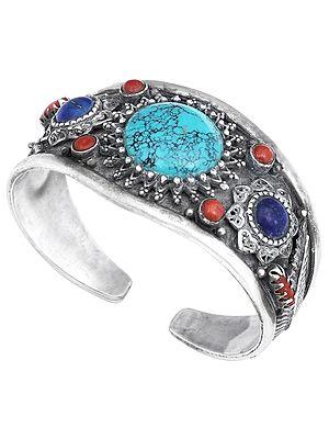 Mandala with Turquoise Lapis Lazuli Coral and Filigree Cuff  Bracelet (Adjustable Size)