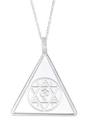 Triangular Pendant with Swastik and Om in Shatkona