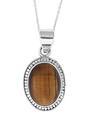 Small Oval Shaped Tiger Eye in Sterling Silver Pendant