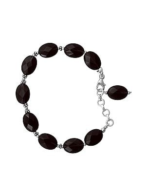 Sterling Silver Bracelet with Faceted Smoky Quartz Stone