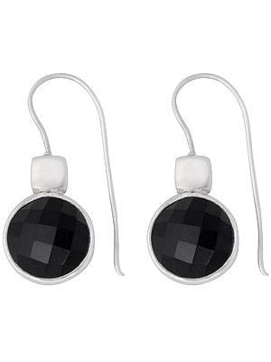 Round Faceted Black Onyx Studded Sterling Silver Earrings