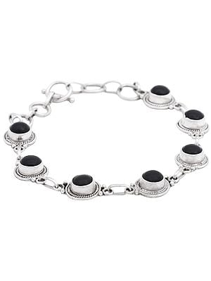 Sterling Silver Bracelet with Black Onyx Gemstone Beads