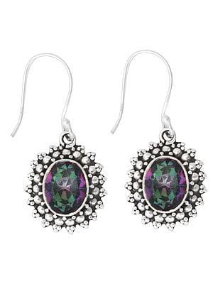 Luxurious Mystic Topaz Gemstone Earrings Made in Sterling Silver