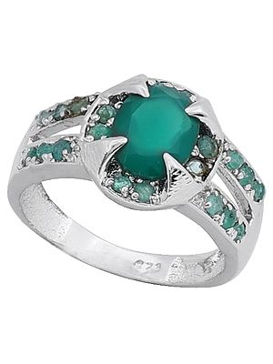 Super Fine Green Onyx Gemstone Ring Made in Sterling Silver