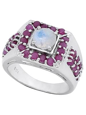 Super Fine Rainbow Moonstone Ring with Rubies Made in Sterling Silver