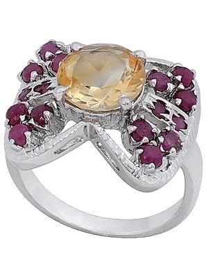 Super Fine Butterfly Ring Studded with Yellow Topaz and Rubies