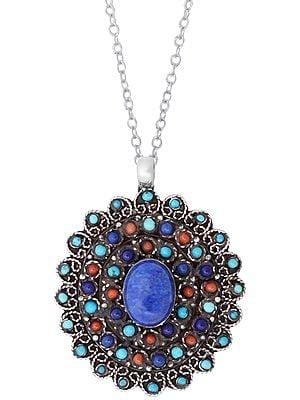 Marvelous Multi Stone Pendant with Central Lapis Lazuli