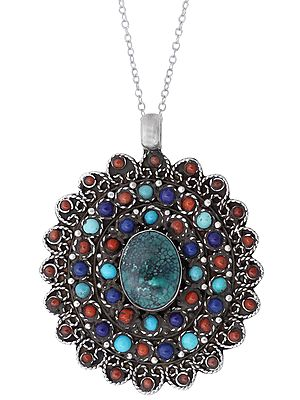 Marvelous Multi Stone Pendant with Central Greenish Turquoise