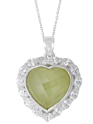 Sterling Silver Heart Shaped Cubic Zirconia Pendant