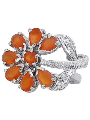 Super Fine Floral Designer Ring with Faceted Carnelian and Cubic Zirconia