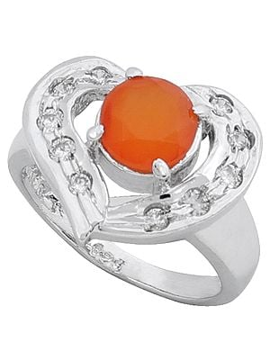 Super Fine Heart Shaped Designer Ring with Carnelian and Cubic Zirconia Stone