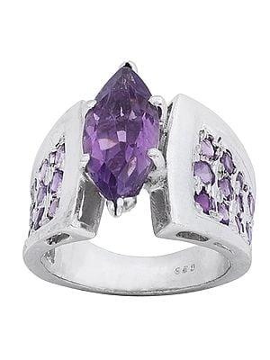 Super Fine Leafy Amethyst Designer Ring Made in Sterling Silver