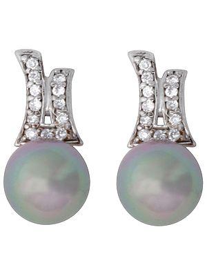 Black Pearl Earrings with Cubic Zirconia