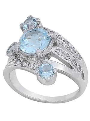 Super Fine Glittering Ring with Blue Topaz and Cubic Zirconia