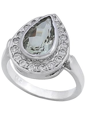 Super Fine Drop Shaped Ring with Citrine and Cubic Zirconia