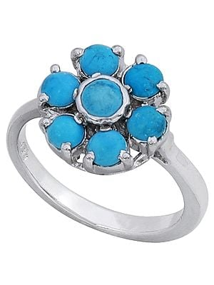 Superfine Sterling Silver Ring with Floral Turquoise Stone