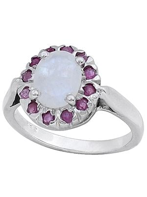 Super Fine Sterling Silver Ring with Rainbow Moonstone and Rubies