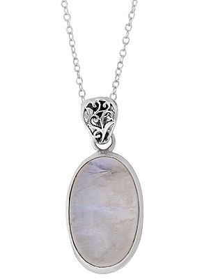 Sterling Silver Pendant with Oval Rainbow Moonstone