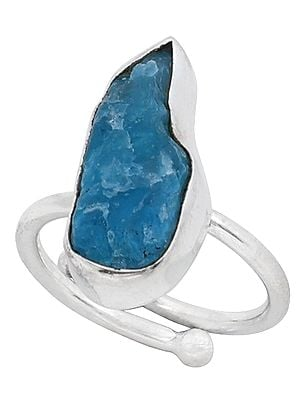 Rugged Precious Gemstone Studded Sterling Silver Ring (Adjustable)