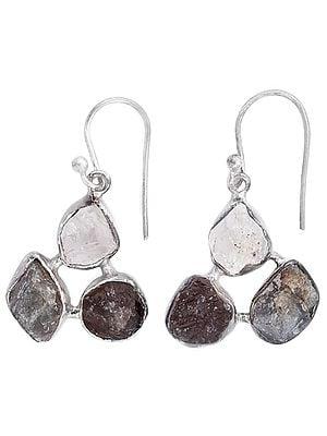 Rugged Gemstone Earrings Made in Sterling Silver