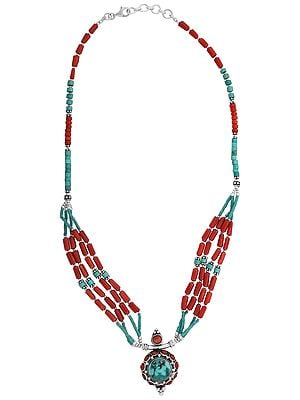 Sober Sterling Silver Necklace with Coral and Turquoise Stone