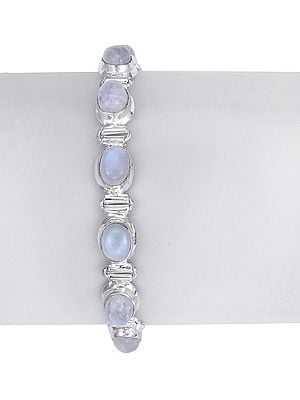 Sterling Silver Attractive Bracelet with Rainbow Moonstone