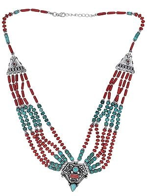 Sterling Silver Sober Necklace with Coral and Turquoise Stone