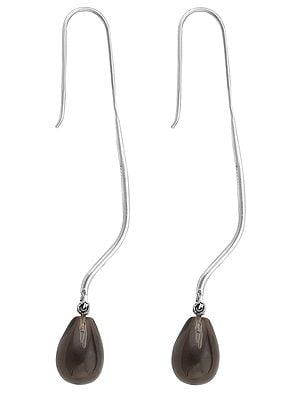 Drop Shaped Smoky Quartz Earrings Made in Sterling Silver