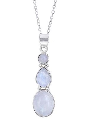 Sterling Silver Pendant Studded with Rainbow Moonstone Trio